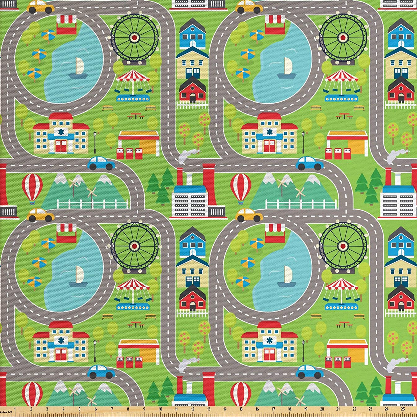 Ambesonne Kids Roadway Activity Fabric by The Yard, Cartoon Design Summer City Amusement Park and Lake Roadway Activity, Decorative Fabric for Upholstery and Home Accents, 1 Yard, Multicolor