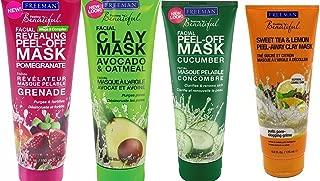 Freeman Facial Mask Bundle, 6 fl oz (Pack of 4) includes 1-Tube Sweet Tea & Lemon Peel-Away Clay Mask, Cucumber Facial Peel-off Mask, Avocado & Oatmeal Facial Clay Mask, Pomegranate Facial Mask