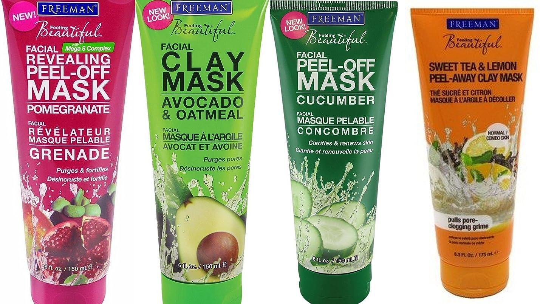 Freeman Facial Mask Bundle, 6 fl oz (Pack of 4) includes 1-Tube Sweet Tea & Lemon Peel-Away Clay Mask, Cucumber Facial Peel-off Mask, Avocado & Oatmeal Facial Clay Mask, Pomegranate Facial Mask fwwymkpdaagwl815