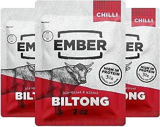 Ember Biltong – Chilli Beef Jerky – Keto & Paleo – High Protein Snack – Chilli (3x2oz)