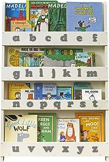 Tidy Books - Kids Bookshelf | Ivory | Wall Bookshelf for Kids with 3D Alphabet Gray | Montessori Materials | Wood Bookcase | 45.3 x 30.3 x 2.8 in | ECO Friendly | Handmade - The Original Since 2004