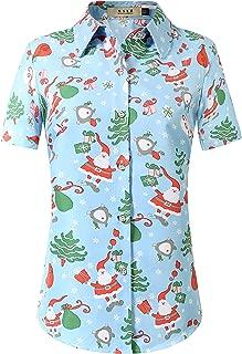 SSLR Women's Christmas Santa Claus Casual Short Sleeve Hawaiian Shirt