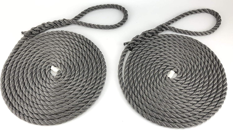 RopeServices UK Softline Festmacherseile, 2 x 6 m x 12 mm, Grau Warps, Stiefellinien, Yachten, Kanal B07JG73293  Elegant und feierlich