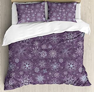 Ambesonne Eggplant Duvet Cover Set, Christmas Inspired Flowers Snowflakes and Swirls in a Violet Delicate Environment, Decorative 3 Piece Bedding Set with 2 Pillow Shams, King Size, Violet