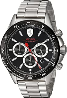 Scuderia Ferrari Men's Pilota Quartz Watch with Stainless-Steel Strap, Silver, 22 (Model: 0830393
