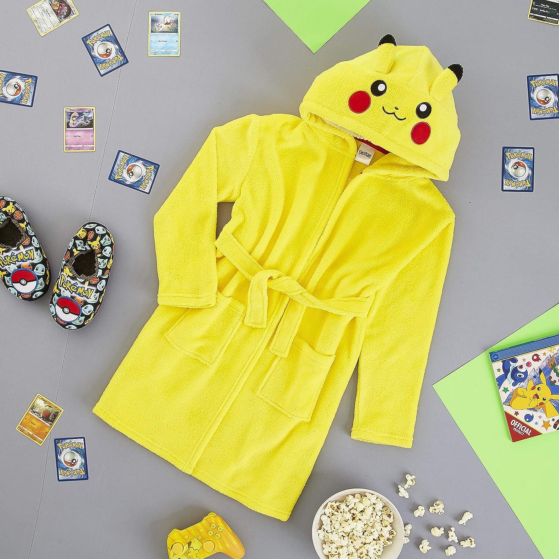 Pok/èmon Bata para Ni/ños Regalos Originales para Ni/ños Ni/ñas y Adolescentes 4-14 A/ños Batas de Estar por Casa de Forro Polar Suave con Capucha Pikachu 3D