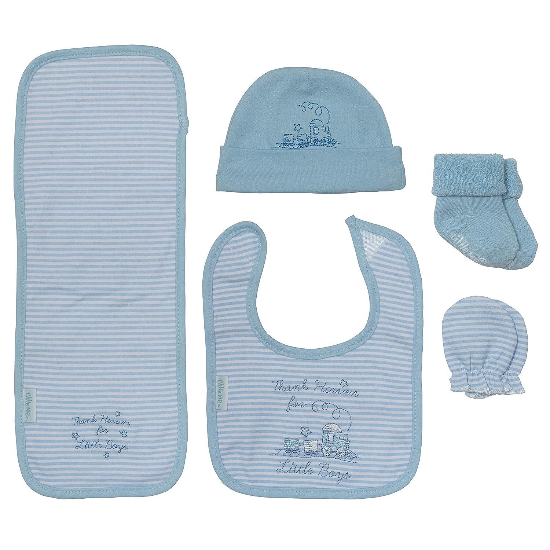 Little Me Baby Boy Gift Set 5 Piece Bib Mittens Hat Cloth Ranking Max 79% OFF TOP7 Burp