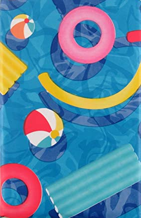 Summer Fun Pool Party Vinyl Flannel Back Tablecloth (52 x 70 Oblong)