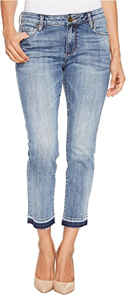 KUT from the Kloth - Petite Reese Ankle Straight Leg Jeans in Motive/Medium Base Wash