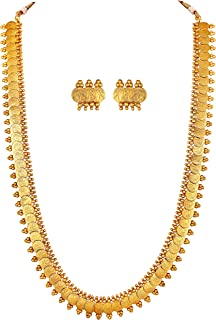 Aheli Wedding Wear Gold Tone Goddess Engraved on Coin Long Necklace Set Indian Traditional Bollywood Fashion Jewelry Set f...