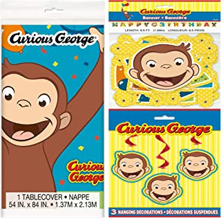Curious George Party Supplies Pack Including Tablecover, Happy Birthday Banner and Hanging Swirl Decorations