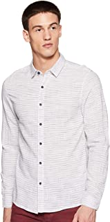 People Men's Striped Slim Fit Casual Shirt