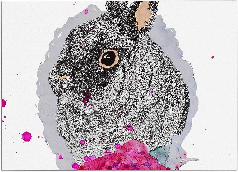 KESS InHouse CB1005ADM02 Cecibd Bunnypink Animals Painting Dog Place Mat, 24 x15