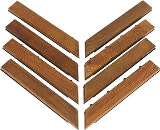 Bare Decor EZ-Floor Corner Trim Piece Interlocking Flooring in Solid Teak Wood (Set of 8), Oiled Finish