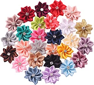 YAKA 54pcs Mix 1.1inch Satin Ribbon Flowers Bows Rose W/Rhinestone Appliques Craft Wedding Christmas Gift Accessories Ornament 27color (Style2)