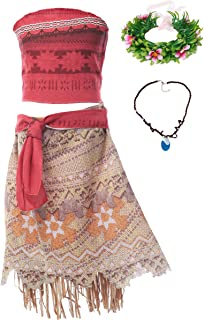 MUABABY Moana Girls Adventure Outfit Cosplay Costume Skirt Set with Necklace with headband
