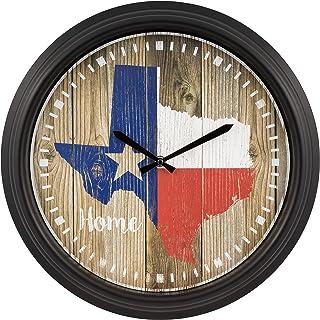 "La Crosse Technology La Crosse 404-3840TX 15.75"" Indoor/Outdoor Quartz Wall Clock-Texas, Black"