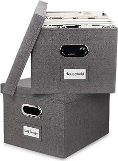 مجموعه جعبه های سازمان دهنده زیبا از 2 - جعبه های تشکیل دهنده کتانی قابل جمع آوری برای ذخیره سازی آسان پوشه پرونده