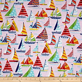 Santee Print Works Clear Sailing Sailboats Allover Pink Multi Fabric by the Yard