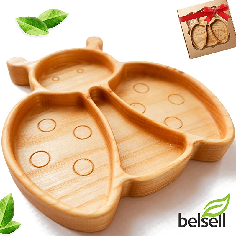 Wooden Toddler Plates For Kids Plate Divided Baby Eco Friendly Dish BPA Free Bug