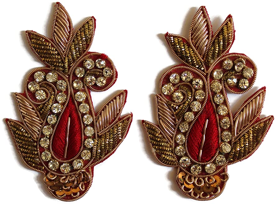 Indian patches Fabric Embroidered Shaped Patches (Red, 8 cm, Set of 02 Patches)