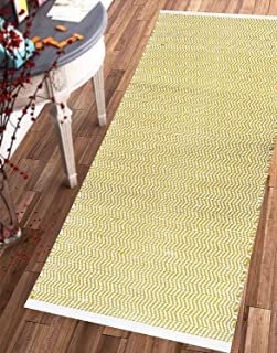 "The Home Talk 100% Cotton Chevron Contemporary Area Rug Door Mat Super Hand-Woven Geometric Throw Rugs Fully Reversible Machine Washable, (28""x56"", Yellow)"