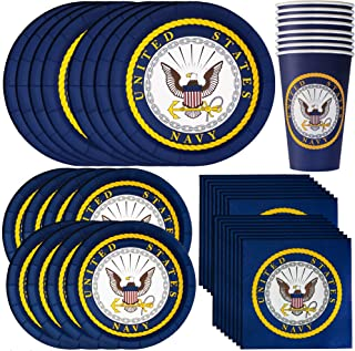US Navy Party Bundle Officially Licensed by Havercamp | Napkins, Plates, Cups | Great for Military Reunions, Patriotic Party, Veterans Celebration, Sailor's Welcome Home Party
