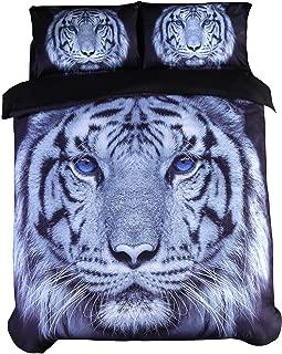 ENCOFT 3D Tiger Bedding Large Tiger Head with Blue Eyes Printed 4 Pieces Duvet Cover Set, Cotton Tencel Blend Black Bedding (Queen)