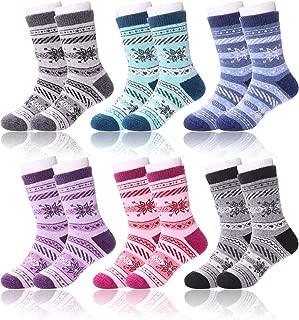 LANLEO 6 Pairs Children's Winter Thick Warm Soft Cute Animal Crew Wool Socks For Kids Boys Girls