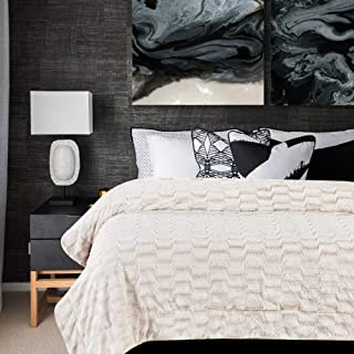 Chanasya Super Soft Fuzzy Faux Fur Elegant Rectangular Embossed Throw Blanket | Fluffy Plush Sherpa Microfiber Blanket for Bed Couch Living Room Fall Winter Spring King Blanket - Crème