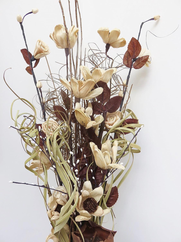 Blumenstrauß Aus Kunstblumen Und Getrockneten Blumen 85 Cm Ohne Vase Natur Amazon De
