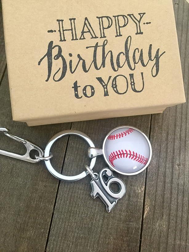 Baseball 16th Birthday ~ Masculine ~ Keepsake ~Baseball l Key Chain with Gift Packaging for Boy or Girl