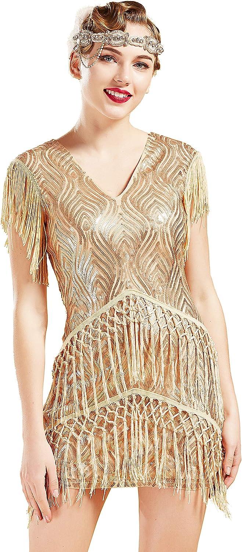 BABEYOND 1920s Flapper Dress Long Fringed Gatsby Dress Roaring 2
