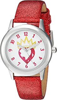 ساعة DISNEY Girls Descendants Stainless Steel Analog Quartz مع حزام جلد صناعي، احمر، 16 (WDS000367)