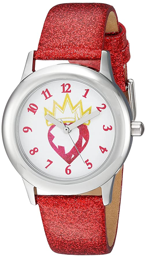 DISNEY Girls Descendants Stainless Steel Analog-Quartz Watch with Leather-Synthetic Strap, red, 16 (Model: WDS000367)