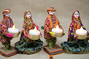 JH Gallery Handmade Recycled Material Puppet Rajasthani Dolls Tealight/Diya for Diwali (Multicolour) Pack of 2 Pair, 4...