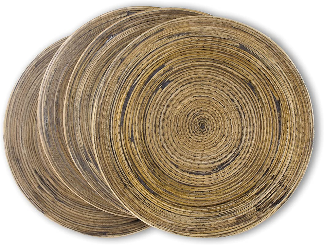 Spun Bamboo Coasters For Drinks With Non Skid Backing Set Of 4