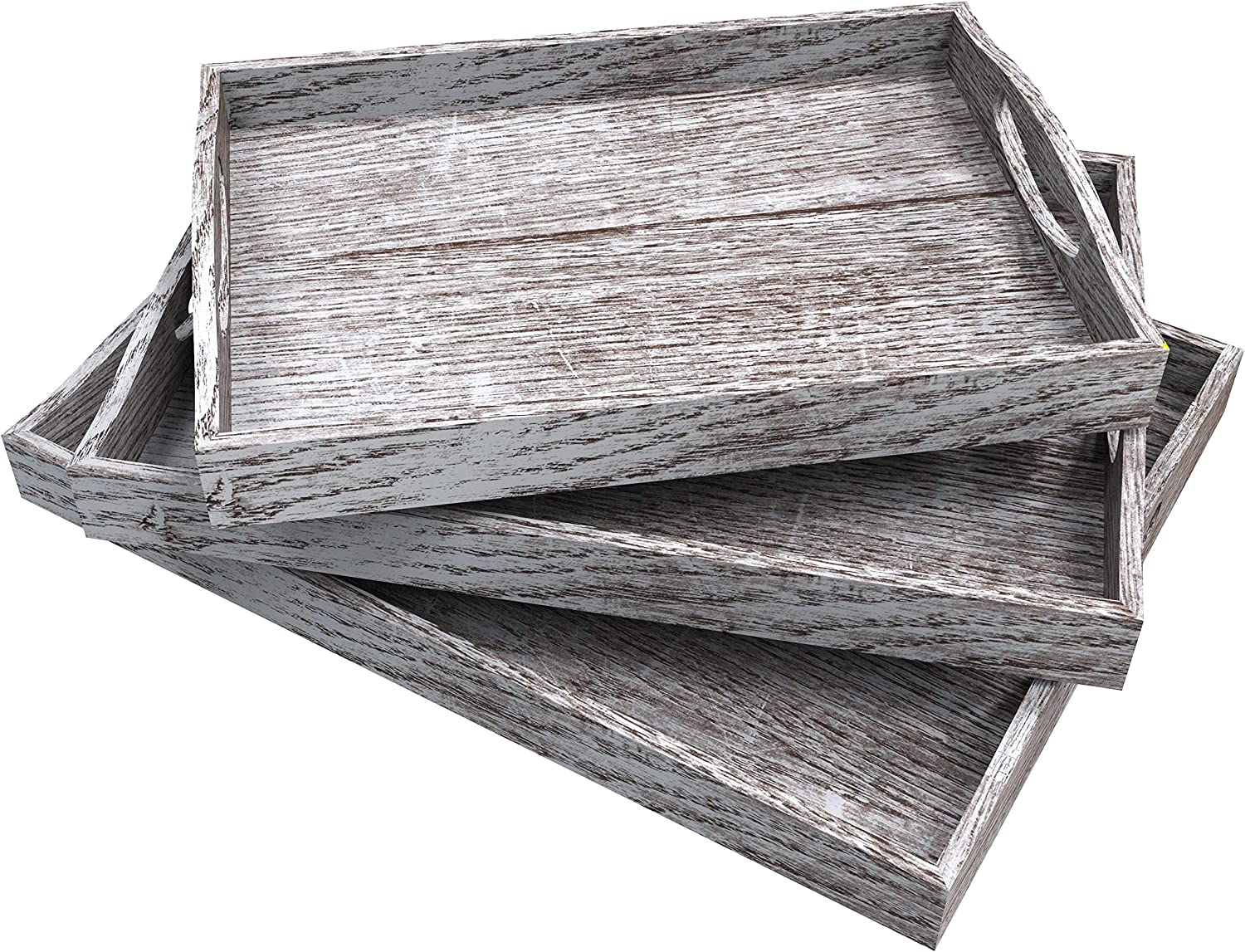 Rustic Wooden Serving Max 62% OFF Trays with Handle Medi Large 3 wholesale Set of -