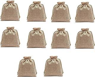 STRIPES Women's Organic Plain Jute Jewellery Pouch Potli Bag (Brown) - Pack of 10