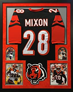 Joe Mixon Cincinnati Bengals Autograph Signed Custom Framed Jersey Suede Matted Black 4 Pic JSA Witnessed Certified