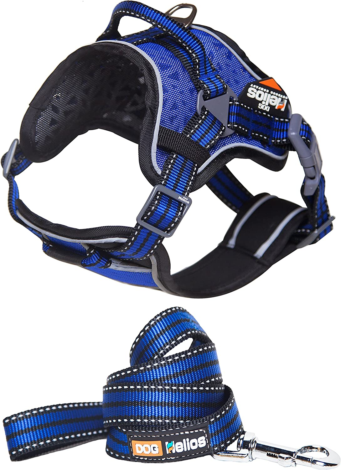 DOGHELIOS 'Journey Wander' Chest Compressive Sporty Adjustable Travel Pet Dog Harness and Leash Combination, Small, bluee