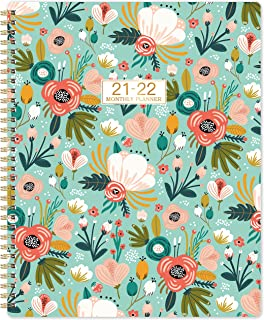 2021 Monthly Planner/Calendar - 12-Month Planner with Tabs & Double Side Pocket & Label, Contacts and Passwords, Floral Ca...