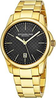 Stuhrling Original Mens Slim Dress Watch Stainless Steel Case and Band - Black Sport Watches Analog Watch Dial with Date -...