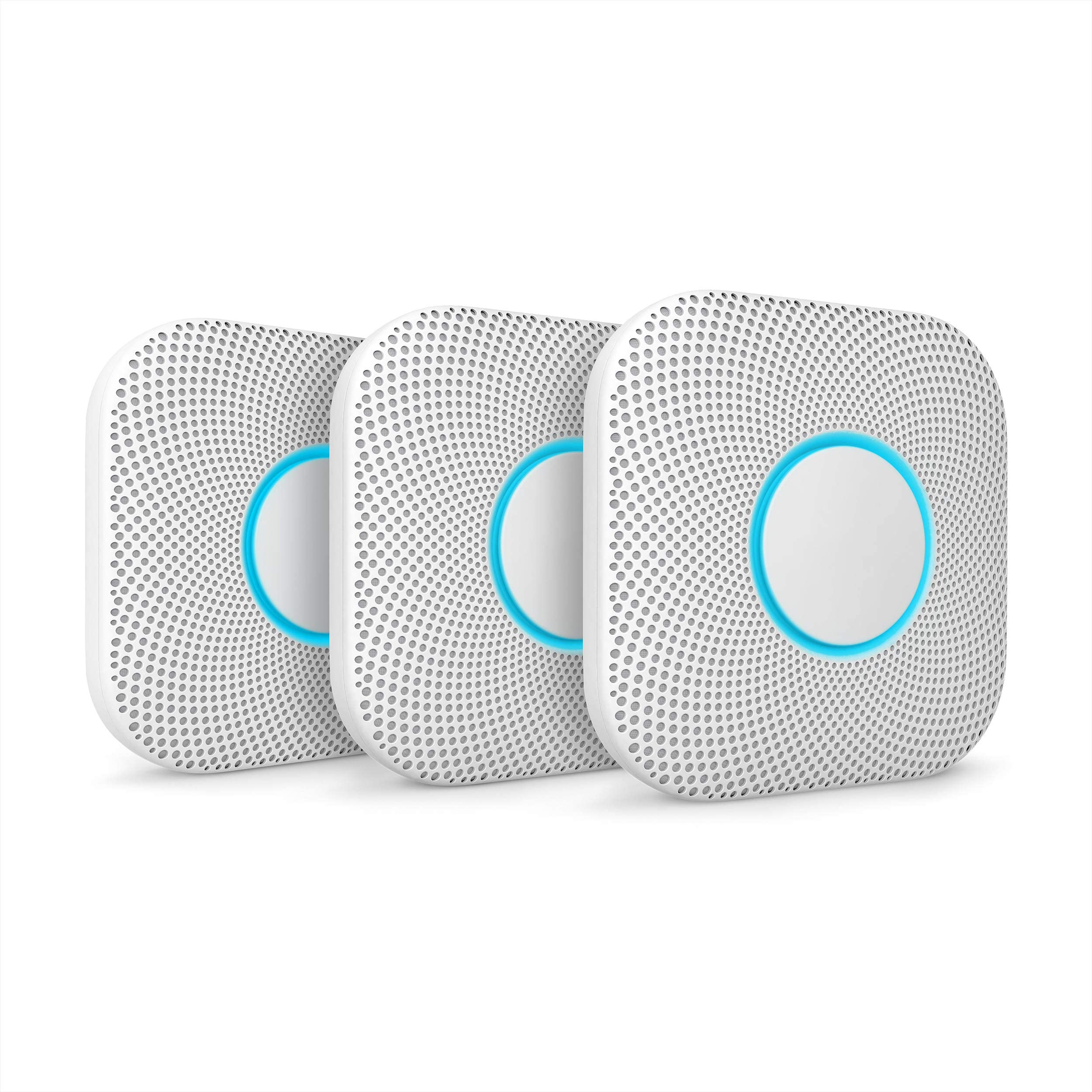 Google S3006WBUS Nest Protect, S3000BWES, 2nd Gen, Battery, 3-Pack Alarm-Smoke Carbon Monoxide Detector, 3, White