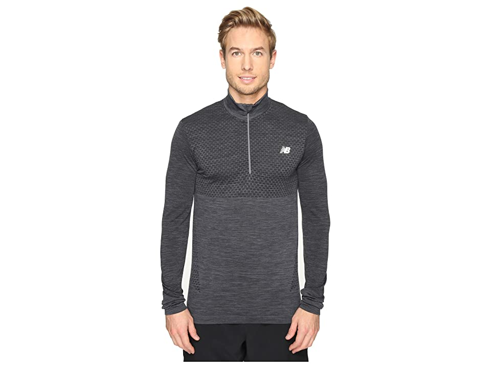 New Balance M4M Seamless Quarter Zip Top (Black Heather) Men