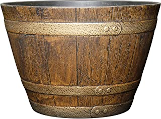 "GARDENGOODZ Whiskey Barrel Planter, Distressed Oak, 15"""