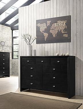 Gloria Black Finish Wood Dresser and Mirror