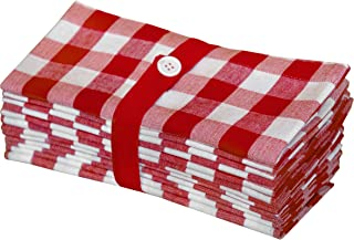 Cotton Craft 12 Pack Gingham Checks Oversized Dinner Napkins - Red - Size 20x20-100% Cotton - Tailored with Mitered Corners and a Generous Hem - Easy Care Machine wash