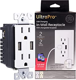 GE UltraPro Tamper Resistant 24W Dual USB Receptacle, for iPhone 11 Max/XS/XR/X/8, iPad Pro, Samsung Galaxy, Google Pixel, Changeable Faceplates, White/Light, 40405, White & Light Almond
