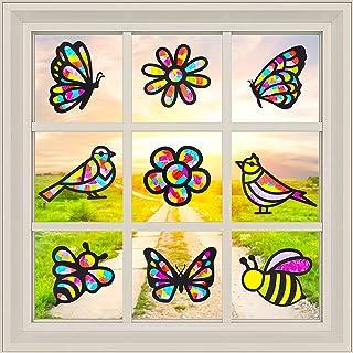 WATINC 9Pcs Paper Suncatcher Kit for Kids DIY Bird Flower Butterfly Craft Decoration for Window